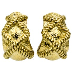 David Webb 18K Yellow Hammered Rope Gold Earrings