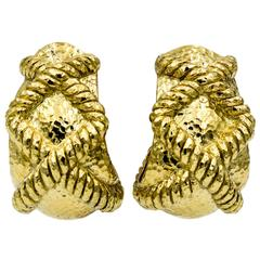 David Webb Hammered Rope 18 Karat Yellow Gold Earrings