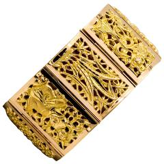 Japanese Four Seasons Panel Yellow Gold Bracelet