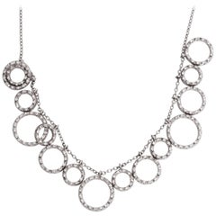 Circle Charm Graduating Diamond Necklace