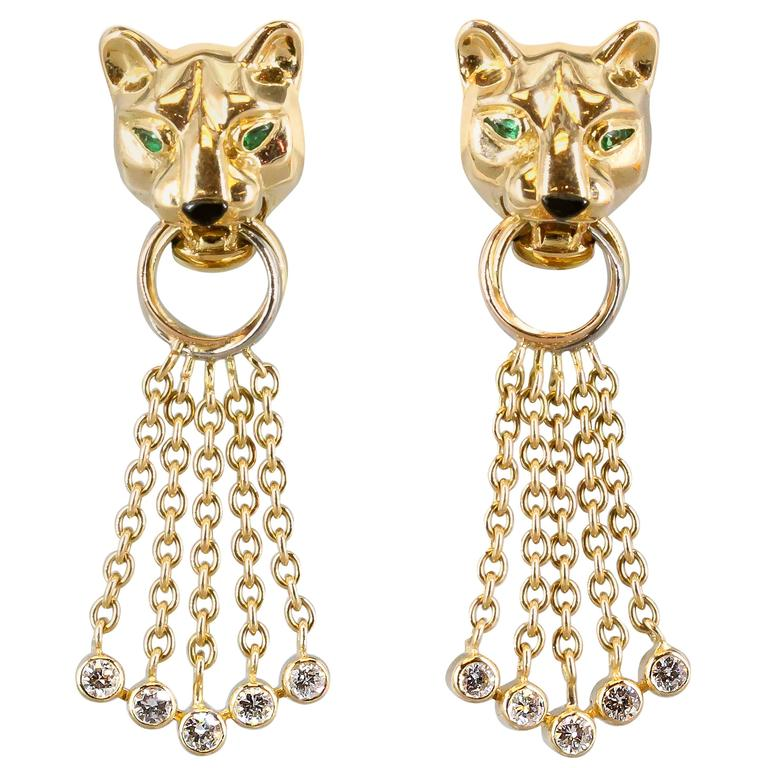 Cartier Panther Diamond Emerald Onyx Yellow Gold Earrings For