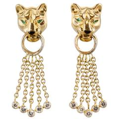 CARTIER Panther Diamond Emerald Onyx  Yellow Gold Earrings