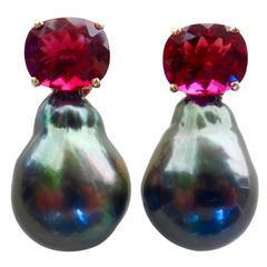 Michael Kneebone Rubelite Tourmaline Baroque Tahitian Pearl Earrings