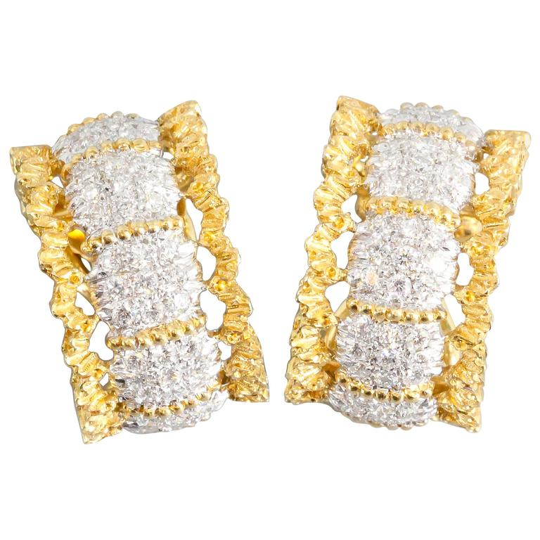 Buccellati Pave Diamond White and Yellow Gold Ear Clips For Sale