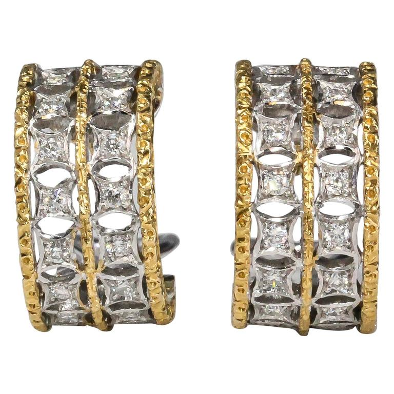 M. Buccellati Two Row Diamond, White and Yellow Gold Ear Clips