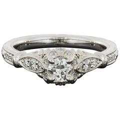 Colorless Old European Diamond Halo Hand Engraved Engagement Ring