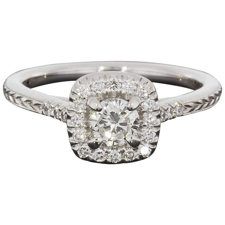 Round Diamond Cushion Halo Engraved Engagement Ring For Sale at 1stdibs