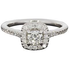Round Diamond Cushion Halo Engraved Engagement Ring