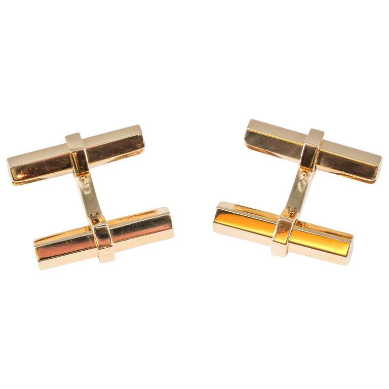 Cartier Gold Hex Bar Cufflinks