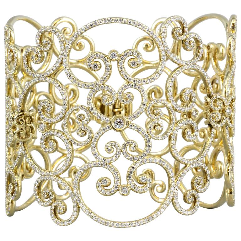 Tiffany & Co. Paloma Picasso Goldoni Diamond Gold Wide Bracelet For Sale