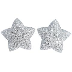 200 Diamonds White Gold Five Point Star Earrings