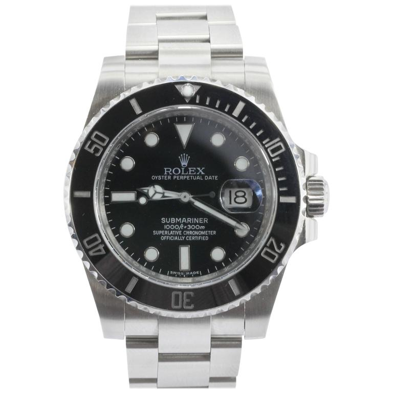 7e11c2d78486 Rolex Steel Submariner Oyster Perpetual Date Black Dial Automatic  Wristwatch For Sale