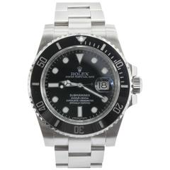 Rolex Steel Submariner Oyster Perpetual Date Black Dial Automatic Wristwatch