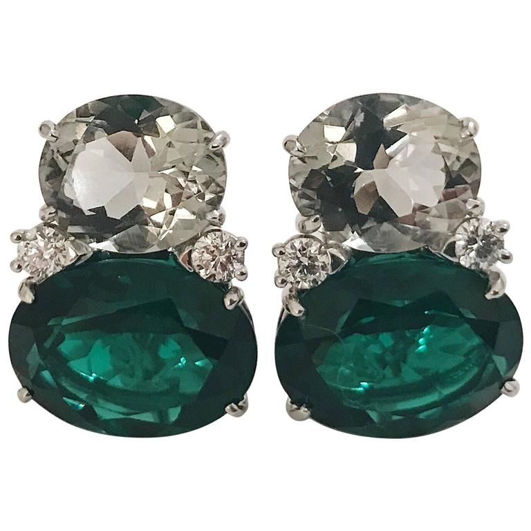 Large GUM DROP™ Green Amethyst and Green Topaz and  Diamond Earrings 1