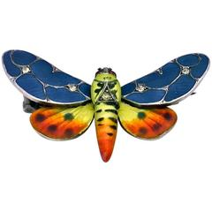 Meyle and Mayer Art Nouveau Jugendstil Enamel Butterfly Pin