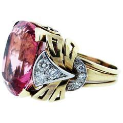 1950s Impressive Pink Tourmaline  Diamond Gold Ring