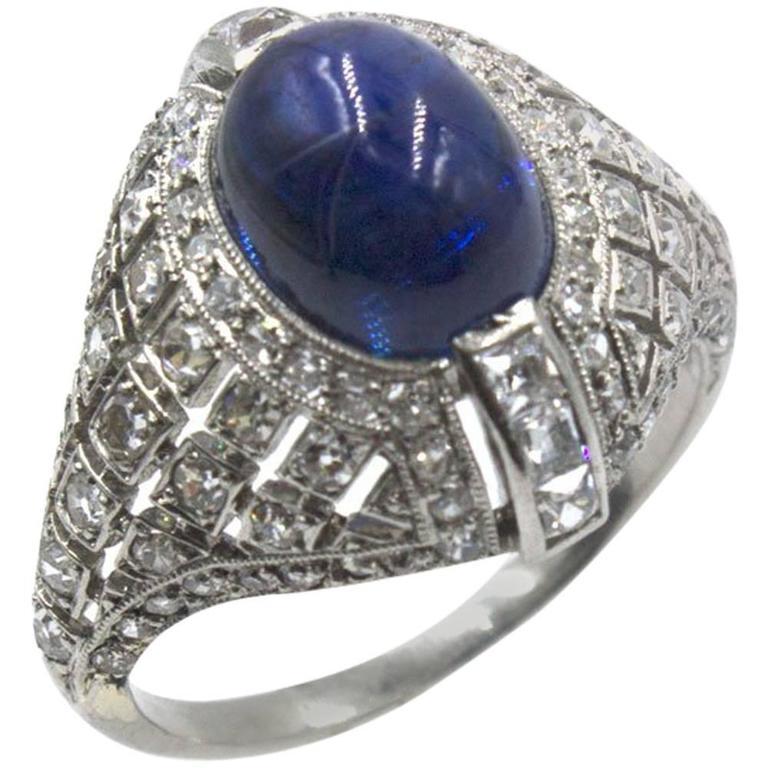 Art Deco Cabochon Sapphire Diamond Platinum Cocktail Ring