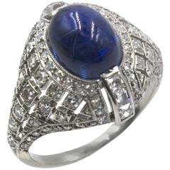 Art Deco Cabochon Sapphire Diamond Platinum Cocktail Ring