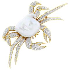 Mississippi Mud Pearl Diamond Crab Pin