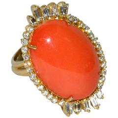 Large Natural Coral Diamond Gold Ring