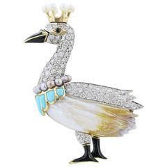 Diamond Pearl Turquoise Swan Pin