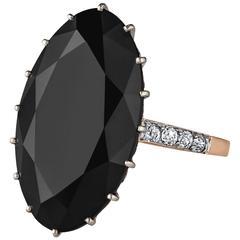 10.61 Carat Oval Black Spinel Diamond Gold Ring