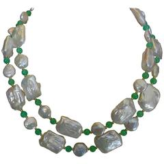 Michael Kneebone Tile Pearl Coin Pearl Chrysoprase Long Necklace