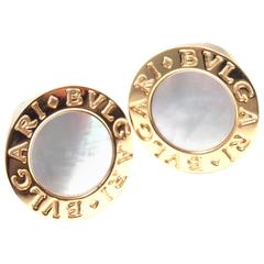 Bulgari Mother Of Pearl Yellow Gold Cufflinks