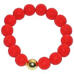 Enormous Valentin Magro Woven Coral Gold Bead Necklace