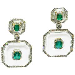 Magnificent Large Rock Crystal Diamond and Emerald Earrings