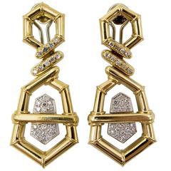 1970's Italian  Diamond  Gold Drop Earrings
