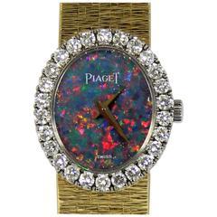 Piaget Yellow Gold Petite Opal Dial Diamond Bezel Quartz Wristwatch