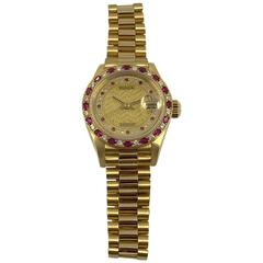 Rolex Yellow Gold Diamond Ruby Datejust Wristwatch
