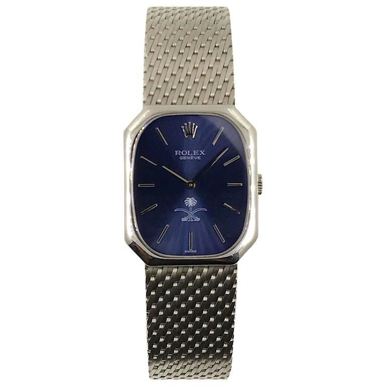 Rolex Cellini White Gold Saudi Logo Wristwatch