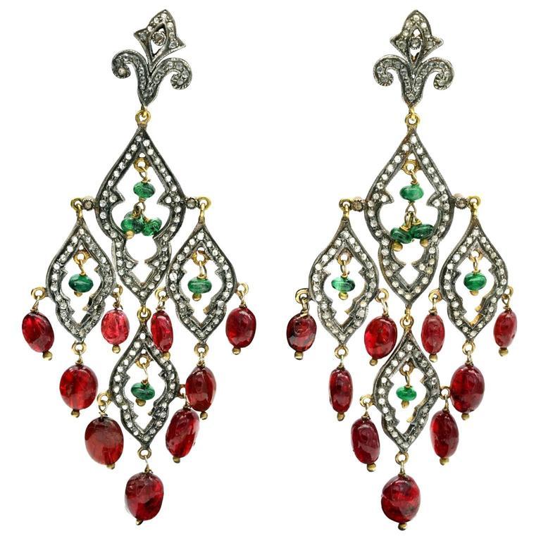 Tourmaline Diamond Silver on Gold Chandelier Earrings