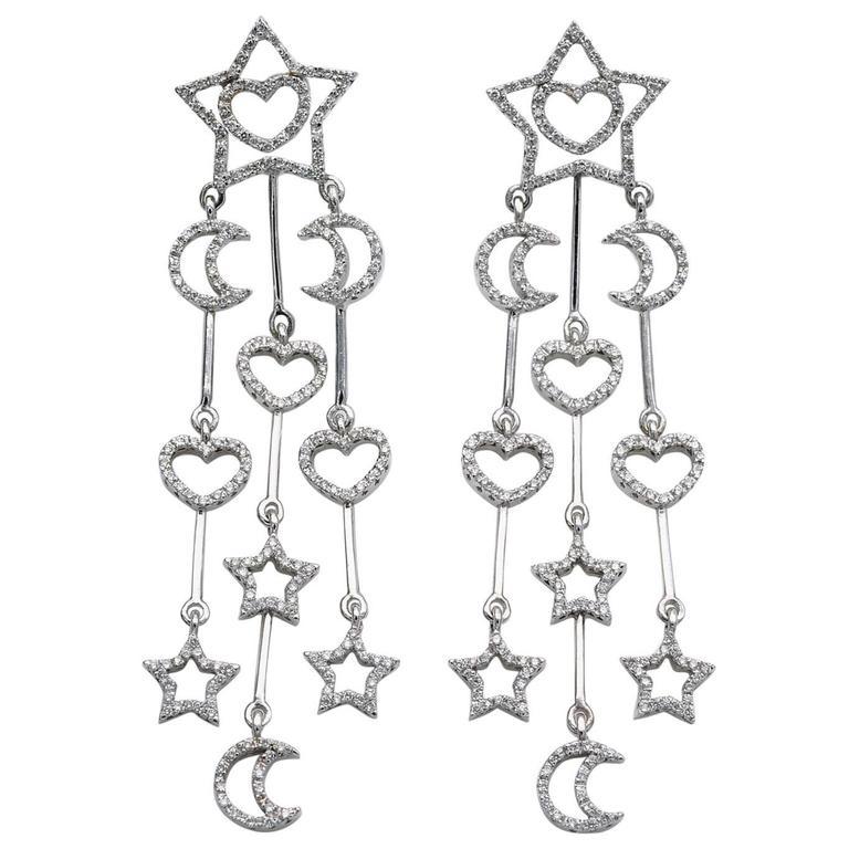 Diamond Star Moon Heart Chandelier Earrings