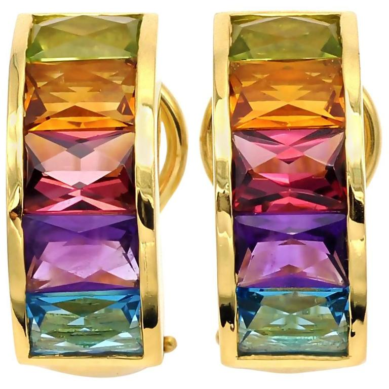 Multi Gemstone and Gold Clip-On Earrings