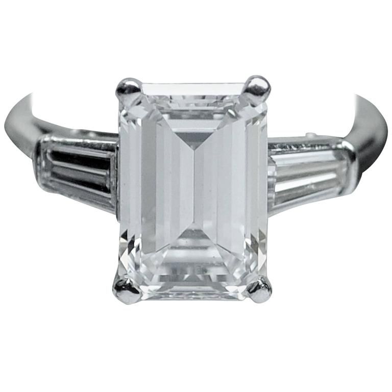 Classic 3.25 Carat Emerald Cut Diamond GIA Certified Engagement Ring 1