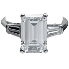 Classic 3.25 Carat Emerald Cut Diamond GIA Certified Engagement Ring