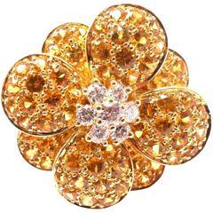 Van Cleef & Arpels Yellow Sapphire Diamond Yellow Gold Flower Ring