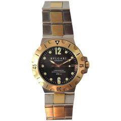 Bulgari Ladies Yellow Gold Stainless Steel Scuba automatic Bracelet Wristwatch
