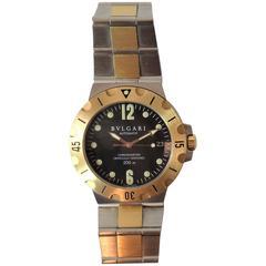 Bulgari Ladies Yellow Gold Stainless Steel Scuba automatic Bracelet Wristwatch