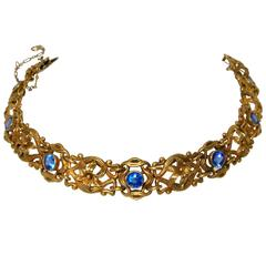 Art Nouveau Sapphire Yellow Gold Bracelet