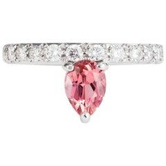 Dubini Theodora Rubellite Tourmaline and Diamonds 18K White Gold Ring