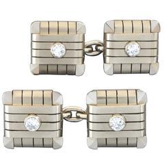 1950s Carlo Weingrill Italy  Diamond White Yellow Gold Double Cufflinks