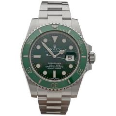 Rolex Stainless Steel Submariner Green Dial Automatic Wristwatch Ref W3556