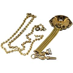 Victorian Mourning Era Gold Watch Pin Fob and Chain 1890s