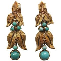 Mario Buccellati Gold and Turquoise Floral Earrings