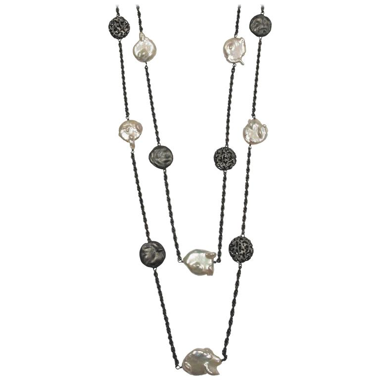 Alex Soldier Coin Pearl Oxidized Silver Necklace Handmade in NYC Limited Edition 1