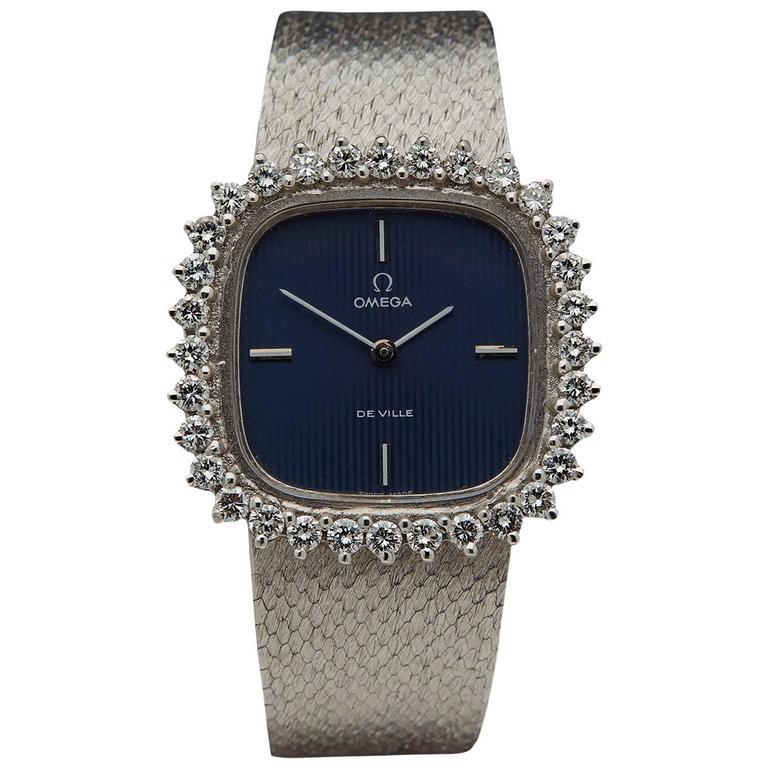 Omega Ladies De Ville White Gold Diamonds Mechanical Manual Wind Wristwatch